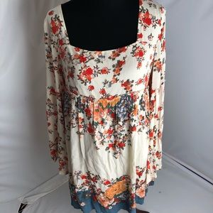 Free People square neck floral long sleeve dress L